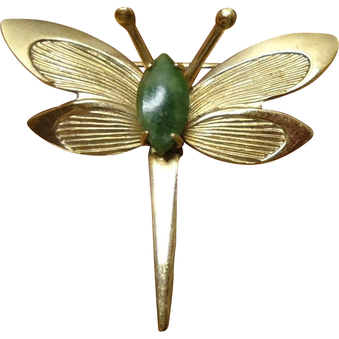 40-80% OFF  Winard 12K GF Small Jade Dragonfly Brooch