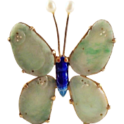 55% OFF Antique Chinese Qing Dynasty Natural Jadeite Jade Butterfly Brooch 10k over Silver & Enamel Setting