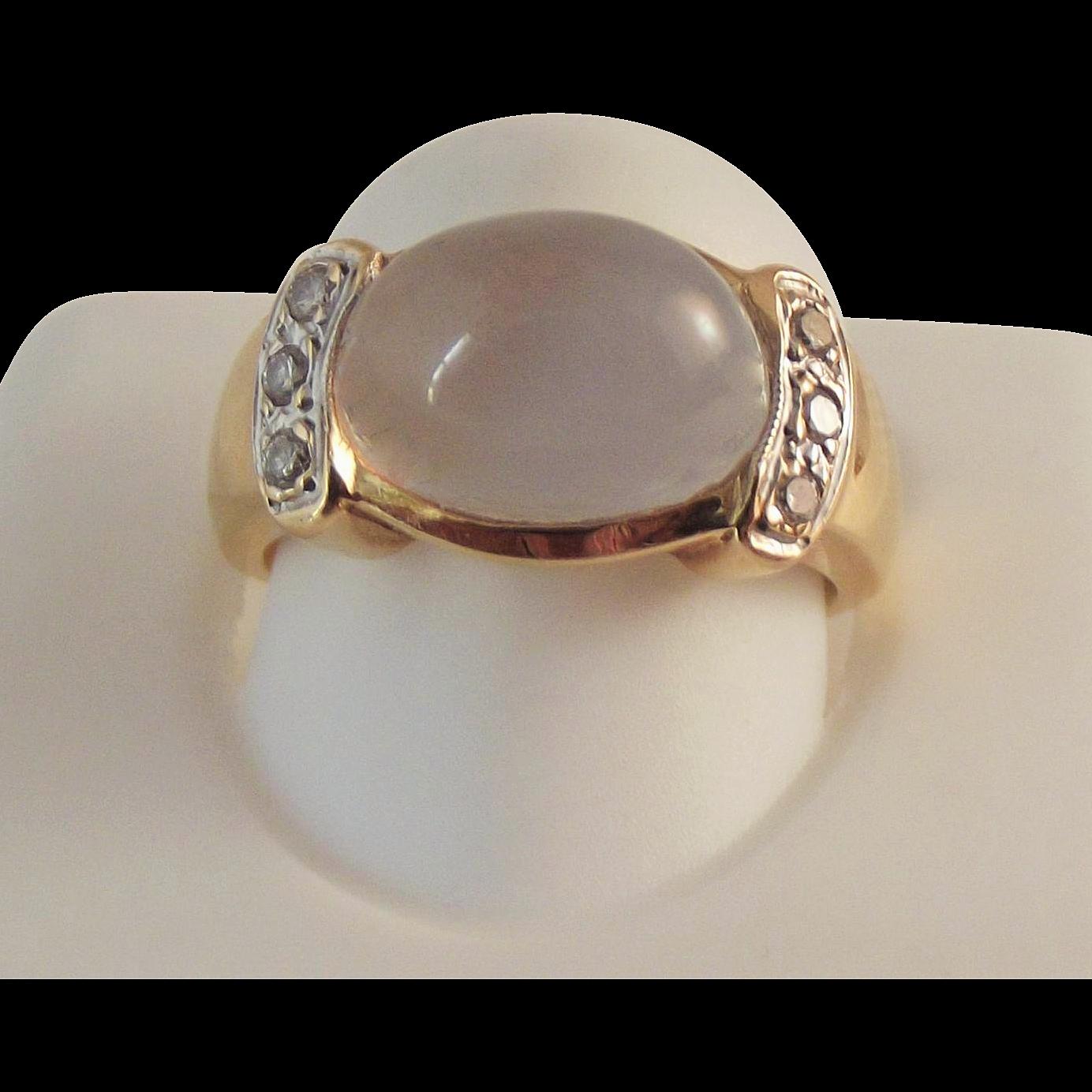 50% OFF  14K Moonstone Diamond Ring