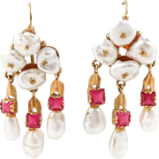 "55% OFF 18k Baroque Pearl Ruby 1 5/8"" Dangle Earrings"