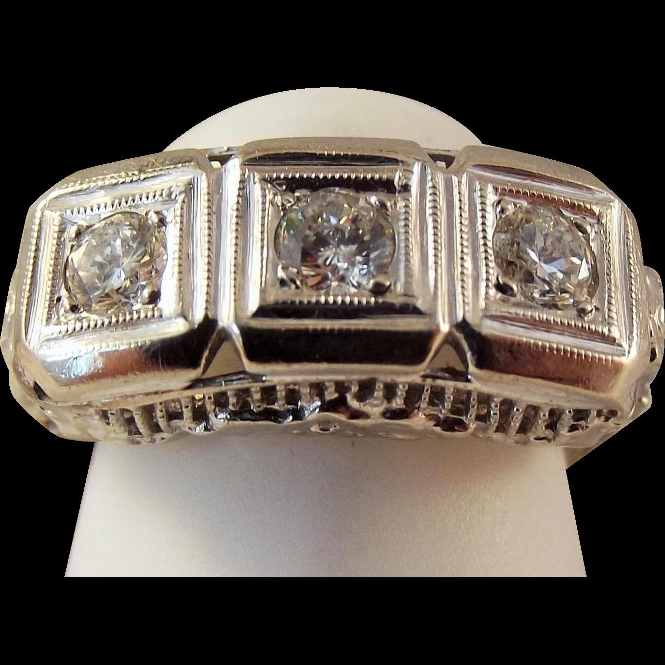 68% Off 14k Art Deco 75 ctw Diamond Filigree Ring