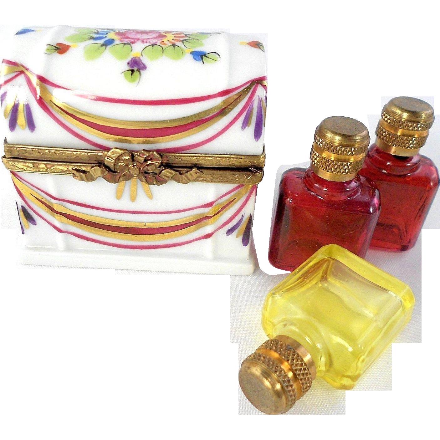 45% OFF Rare Magenta/Yellow Triple Perfume Bottle Hand Painted Limoges Trinket Box