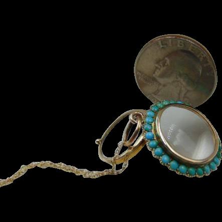 Antique Murrle Bennett & Co 9k Turquoise Glass Locket w/chain