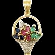 40% OFF 14K Ruby Diamond Sapphire Emerald Basket of flowers Pendant