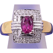 71% OFF 18K Pink Sapphire Diamond Ring