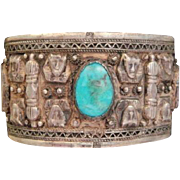 50% OFF RARE Egyptian 800 Silver Hand wrought Cuff Bracelet