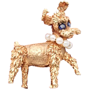 Sold On Layaway 50% OFF 14k Sapphire Pearl Schnauzer Dog Brooch Pin