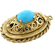 56% OFF Heavy 14k Turquoise Locket
