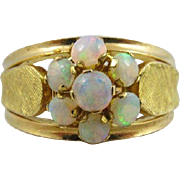 46% OFF Heavy 18k Opal Floral Leaf Ring Size 8