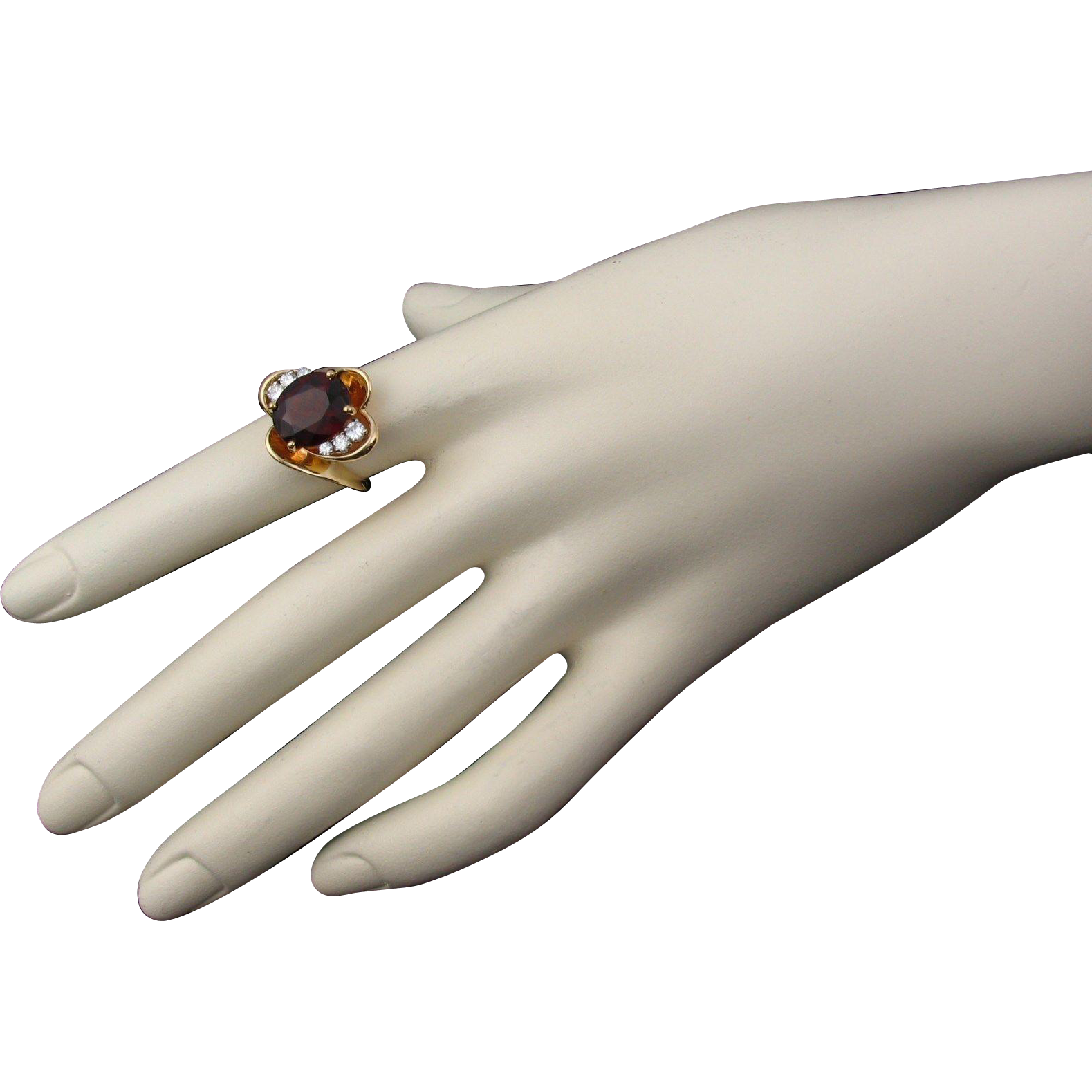 50% OFF 14k Herbert Rosenthal VVS Garnet Diamond Ring