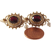 47% OFF Large Vintage 14k Garnet seed Pearl Earrings