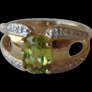 40% OFF Laura Ramsey 14K  Peridot Diamond Ring