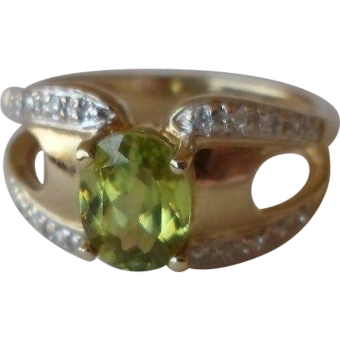 40% OFF Laura Ramsey 14K  Peridot Diamond Ring