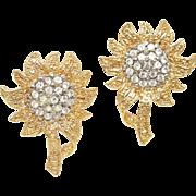 40% OFF Rhinestone Sunflower Clip-On Earrings