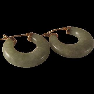 55% OFF 14k 1 inch Hong Kong Jade Jadeite hoop earrings