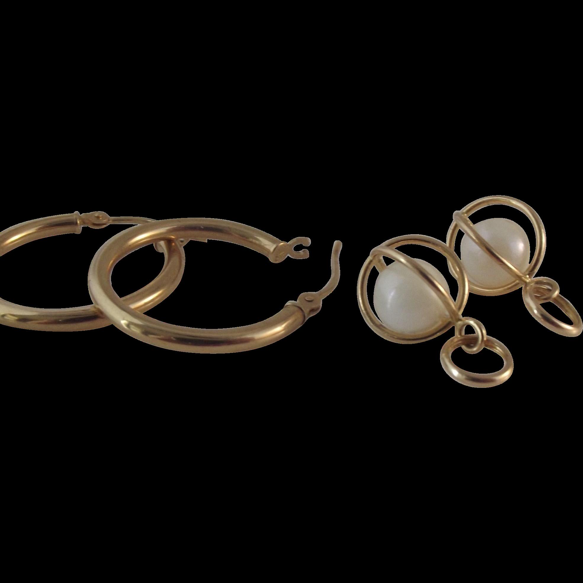 35% OFF 14K  20mm Hoop Pearl  Dangle Earrings