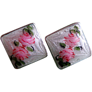 56% OFF Guilloche Sterling Silver Earrings With Hand Painted Roses