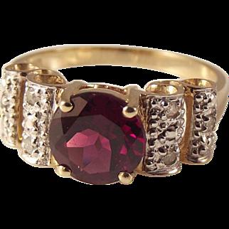 50% OFF 10K Garnet Diamond Round Faceted Gemstone Ring