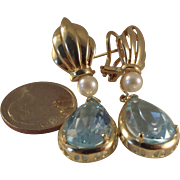 50% OFF-16 carat Large 14k Blue Topaz Pearl Drop earrings