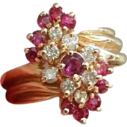 51% OFF 14K  Ruby Diamond Cluster Cocktail Ring  7 Grams