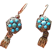 45% OFF Antique 14K Turquoise/ Pinchbeck Gold earrings