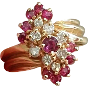52% OFF 14K Ruby Diamond Cluster Cocktail Ring 7 Grams