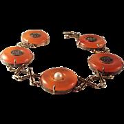 45% OFF Antique Chinese Red/Orange Jade Sterling Vermeil Bracelet