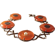 45% OFF Antique Chinese Red/Orange Jade Sterling Vermeil Bracelet