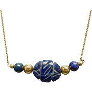 30% OFF 14K  Hand Carved Lapis & Gold Bead Necklace
