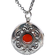 50% OFF Sterling Carnelian Locket pendant 24 Inch Belcher Chain