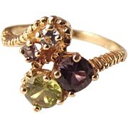 60% OFF Amethyst Peridot Topaz Multi Gemstone 10k Ring