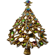 60% OFF Aurora Borealis Rhinestones Christmas Tree Brooch