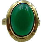 45% OFF Green Onyx / Chalcedony  8K Gold  Ring | German Modernist | Art Nouveau | Arts & Crafts  Ring