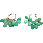 48% OFF 14K Chrysoprase Briolette Hoop Earrings