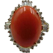 40% OFF Natural Coral Diamond  14k Ring