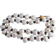 50% OFF 14k Garnet BAROQUE Pearl Bead Necklace