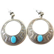 45% OFF Sterling Turquoise Hoop Earrings