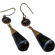 45% OFF Antique English 9k Rose Gold Banded Agate Drop Earrings c1800s