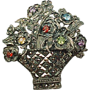 40% OFF sterling Multi gemstone flower basket brooch