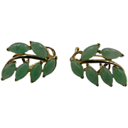 14k Jadeite Jade Leaves omega back Earrings 5.1 grams