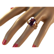 45% OFF Vintage 14k Amethyst Oval cut Gold Ring