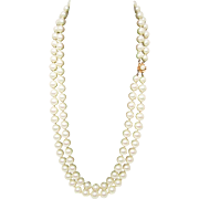 "25% OFF 14k Gold Mabe White Glass Pearls Double Drop 25"" Necklace"