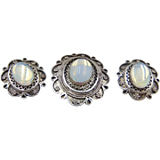 30% OFF 935 Silver Moonstone Pendant Clip earring set