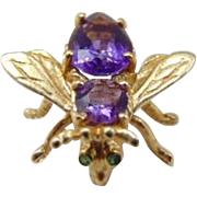 40% OFF 14K Yellow Gold Amethyst and Emerald Bee Pin