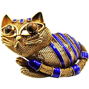 1920 Chinese Export enamel cat Brooch