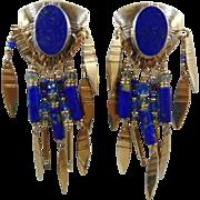 Tabra 14k  lapis Lazuli  dangle pierce earrings Sterling 925 14k Gold Posts Earrings 1980s Orig