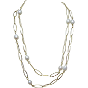 "60% OFF Sterling Silver Gold Vermeil 36"" Long Pearl & Chain Necklace"