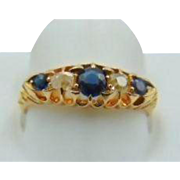 25% OFF 1912 Antique 18ct & Sapphire and Diamond Ring Size 7.5/ fully hallmarked