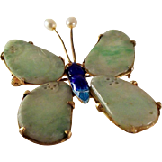 50% OFF Antique Chinese Qing Dynasty Natural Jadeite Jade Butterfly Brooch 10k over Silver & Enamel Setting