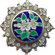 Superb 1882 Locket Adie & Lovekin Victorian Enamel Sterling Locket Brooch